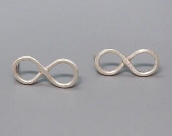 Infinity Earrings, Sterling Silver Infinity Studs, Delicate Earrings, Large Infinity Earrings, Eternity Earrings, Gold, Rose Gold, 14K Gold