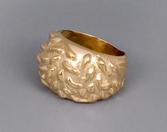 Large Gold Ring, Chunky Gold Ring, Boho Ring Gold, Statement Ring, Rocker Ring, Organic Ring, Unique Ring, Mens Ring, Womens Ring, Big Ring