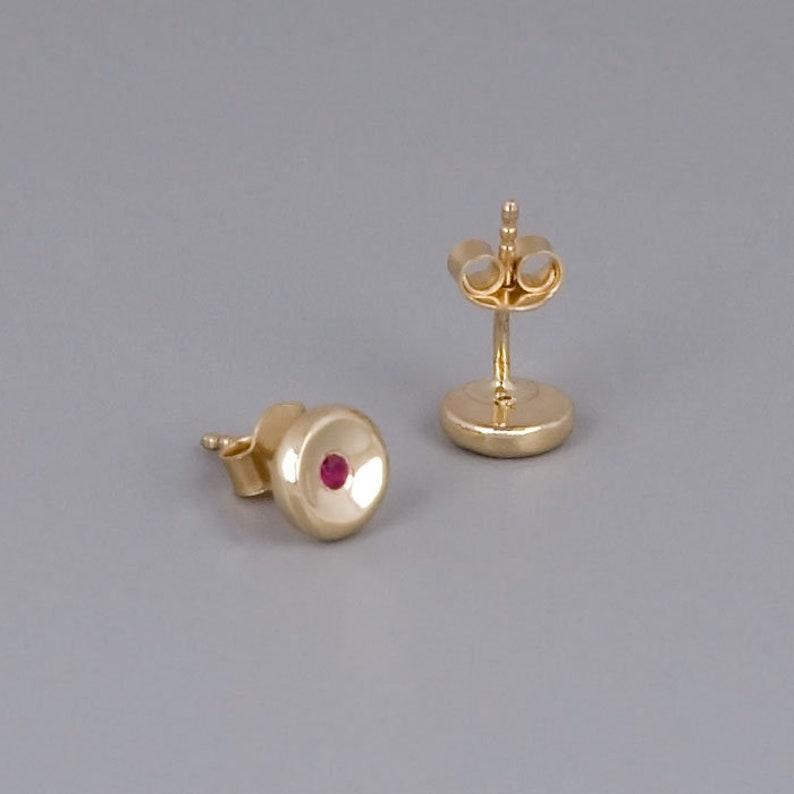 Granet Sapphire Minimal Dainty Studs Gemstone Earrings 14K White Gold 14K Gold Stud Earrings Black Zircon Ruby Studs 14K Rose Gold