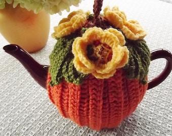 Pumpkin Crochet Tea Cozy, Pumpkin Tea Cozy, Orange Tea Cozy, Yellow Flower Tea Cozy,  Crochet  Tea Cozy, Tea Pot Hat, Fall Tea Cozy