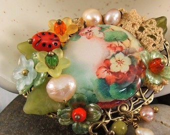Floral Brooch,  Tea Party Jewelry, Tea in Grandma's Garden