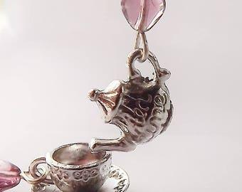 Purple Heart Teapot Earrings, Silver Teapot Earrings, Silver Teacup Earrings, Dangle Earrings, Tea Party Jewelry, Tea Party Gift,