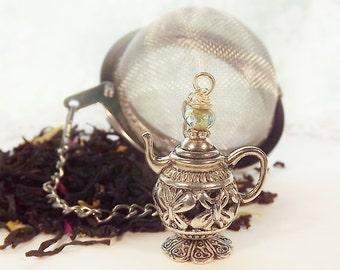 Teapot Charm, Tea Party Favor, Silver, Flower, Key Ring Charm, Bracelet Charm, Zipper Charm