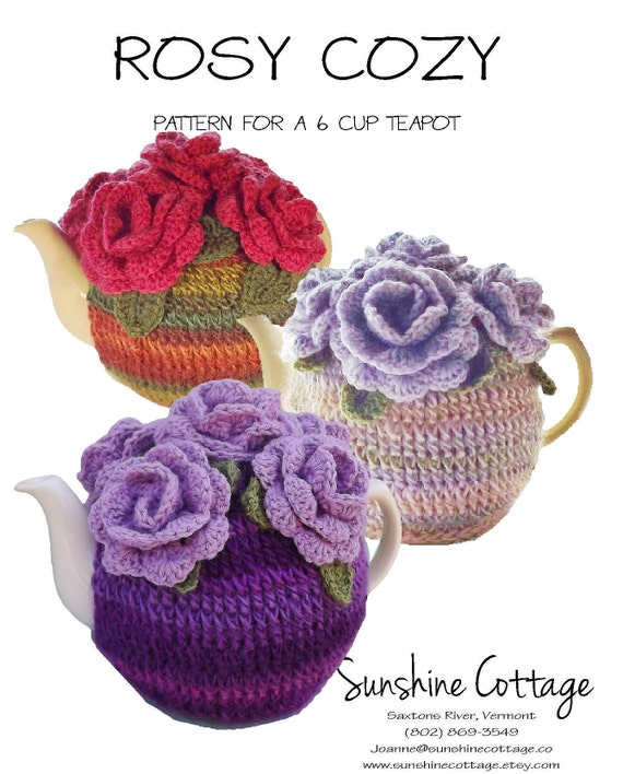 6 Cup Tea Cozy Pattern Rose Tea Cozy Pattern Crochet Tea Etsy