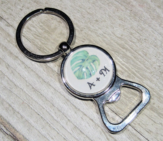 10 Monstera Leaf Personalized Bottle Opener Key Chain Unique Etsy
