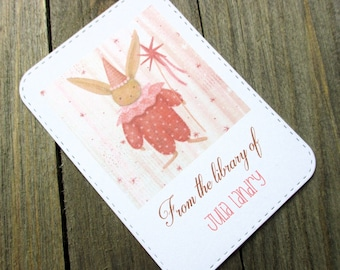 Party Bunny Personalized Bookplate - Set of 10 - Adhesive - Peal and stick - Gift under 15  - Sticker - Book Plate - Children - Kids