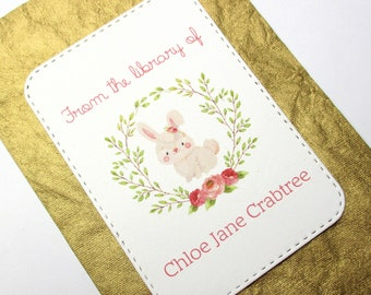 Bunny Personalized Bookplate - Set of 10 - Adhesive - Peal and stick - Large - Embossed - Sticker - Book Plate - Juvenile - Gift under 15