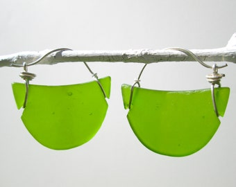 lime green seaglass crescent earrings