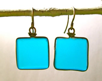 turquoise seaglass earrings with silver