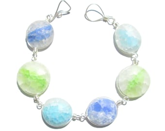 Frosted Ocean Mix Recycled Glass Bracelet/ necklace