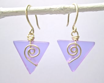 lilac seaglass-like baby triangle earrings with silver spirals