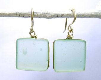 seaglass earrings, aqua square with silver