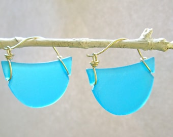 seaglass turquoise crescent hoop earrings