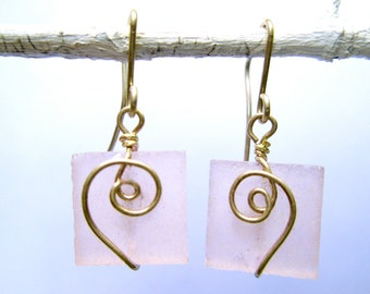 pink seaglass-like square earrings with silver spirals