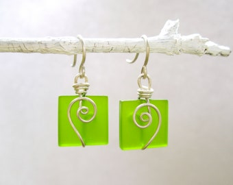 Lime green seaglass square earrings with silver spirals