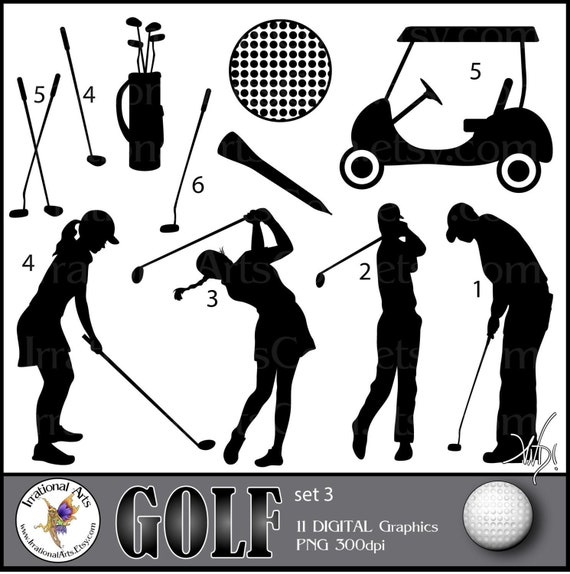 Golf Set 3 With 11 Digital Clipart Graphics Png Files Etsy
