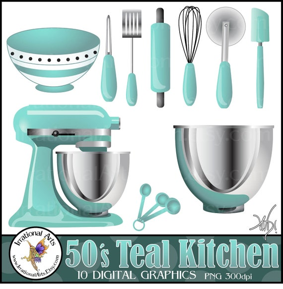 50\'s Teal Kitchen Digital Clipart Graphics - 10 kitchen baking supplies:  bowl, whisk, rolling pin, etc {Instant Download}