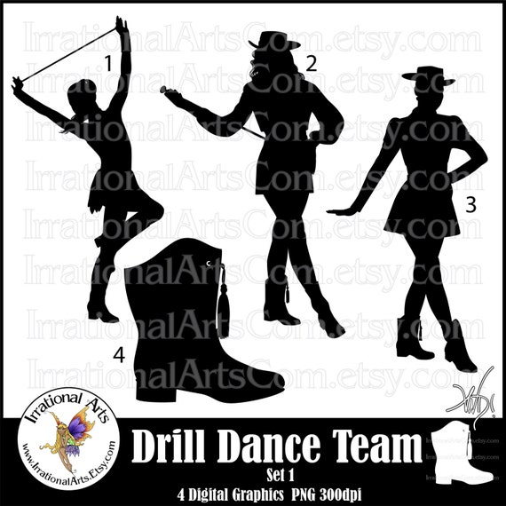 Drill Dance Team Silhouettes Set 1 With 4 Png Digital Etsy