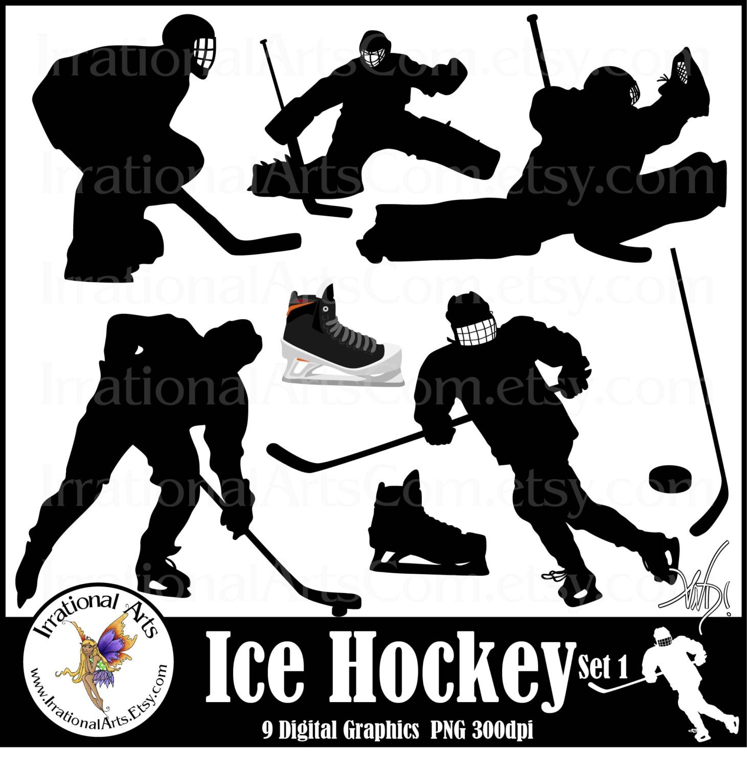 Ice Hockey Set 1 9 Png Silhouettes Digital Clipart Graphics Etsy