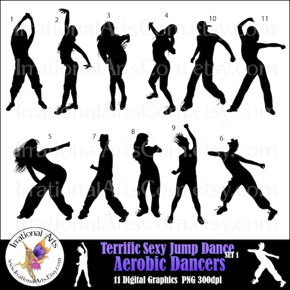 Terrific Sexy Jump Dance Aerobic Dancers Silhouettes Instant Etsy