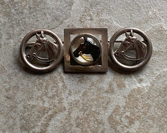 Sterling Vintage Equestrian Reverse Painted Glass Pin
