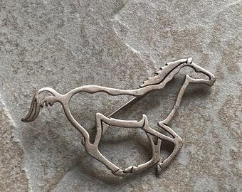 Sterling Silver running horse pin brooch