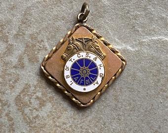 Vintage equestrian fob pendant