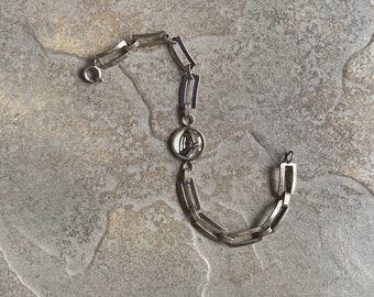 Vintage Sterling Silver Reverse Crystal Equestrian Bracelet