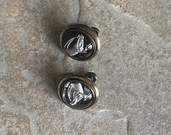 Vintage screw back equestrian horse earrings