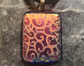 Fused Glass Pendant with Ribbon necklace: Royal Red