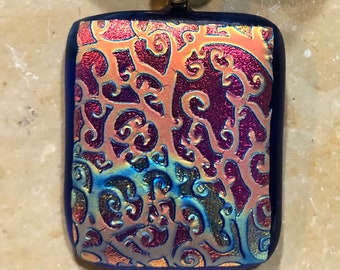 Fused Glass Pendant with Ribbon necklace: Royal Brocade