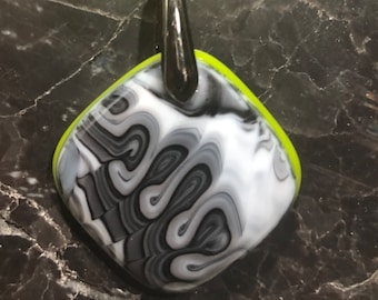 Fused Glass Pendant with ribbon necklace: Graffiti Again