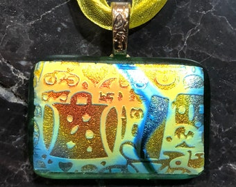 Fused Glass Pendant with Ribbon necklace: Wander
