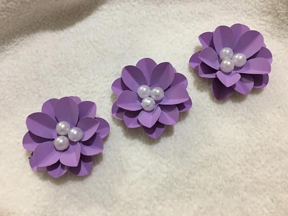 Scrapbook Paper Flowers3 Piece Set Of Very Pretty Purple Etsy