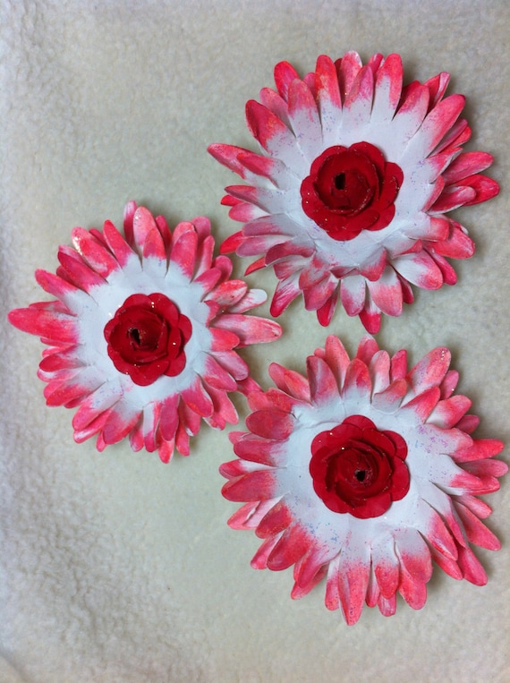 Scrapbook flowers3 piece set very beautiful real red etsy image 0 mightylinksfo