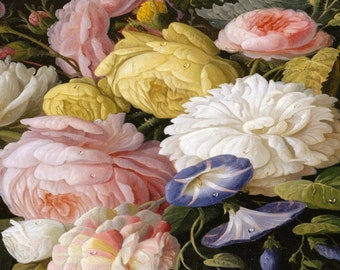 Severin Roesen Floral Flowers Painting Print Reduxed to Canvas Ready to Hang Fresh! Spring!