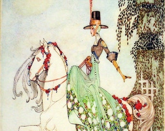 Kay Nielson Fairy Tale Princess Illustration on Canvas Ready to Hang Museum Quality Painterly Texturte