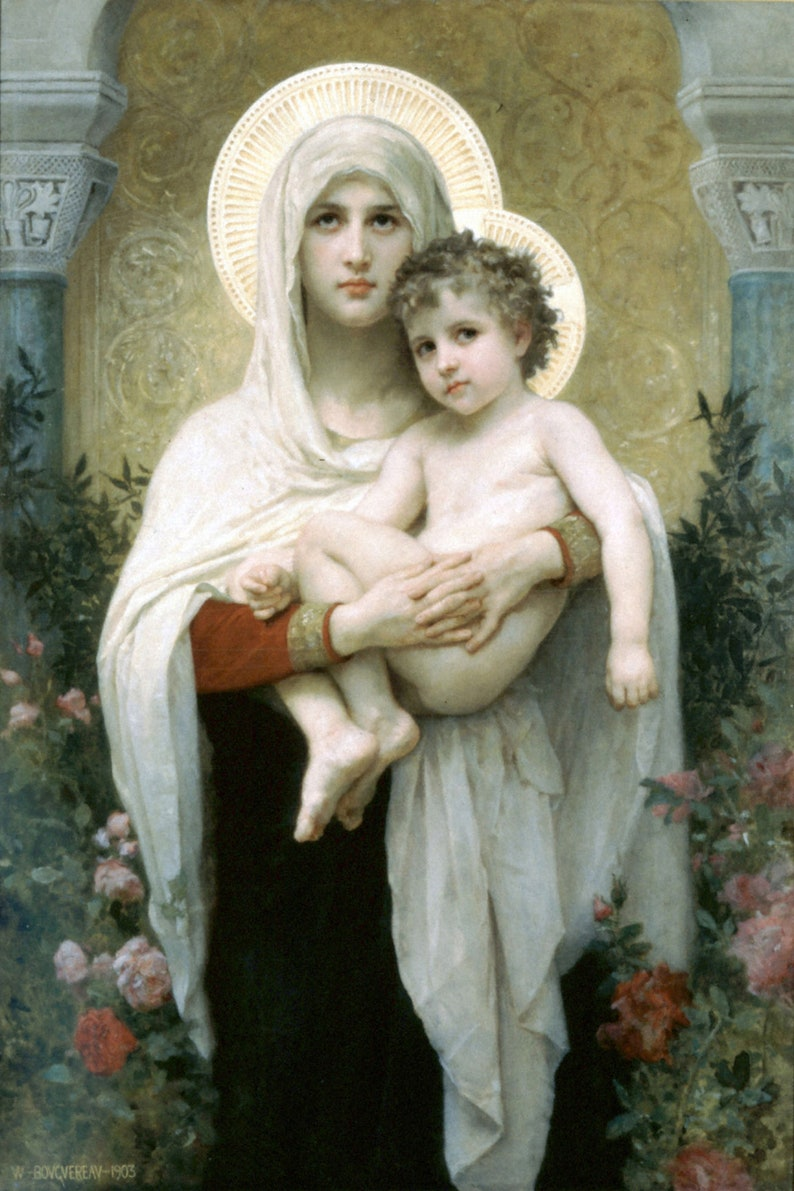 Bouguereau Song of the Angels Wood Framed Canvas Print Repro 12x18