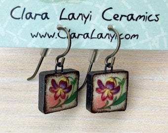 Handmade Ceramics Earrings, Ceramic jewelry, dangle earrings, one of a kind, unique gift, hypoallergenic