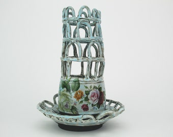 Handmade Pottery Vase, Leaning Tower Vase, Contemporary folk art pottery, Vintage style, Flower Arranger, Unique Mother's Day gift