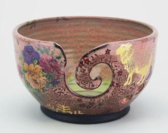 Pink Handmade Yarn Bowl,  vintage graphics, vintage flowers, unique gift