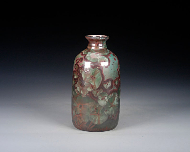 Dark Red and Green Ceramic Vase J-313 FREE SHIPPING Crystalline Glaze on High-Fired Porcelain Hand Made Pottery