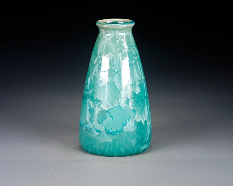 Hand Made Pottery Crystalline Glaze on High-Fired Porcelain FREE SHIPPING Y-966 Green Ceramic Vase