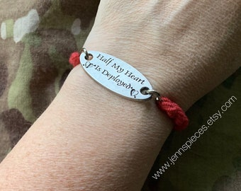 Half My Heart is DEPLOYED boot band bracelet Red Friday Military