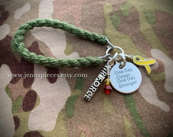 One Day Closer Red Friday Boot Band BRACELET military deployed Afghanistan Kuwait deployment