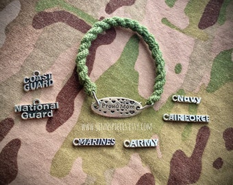 PROUD MOM Boot Band Bracelet Military Army Marines Navy Air Force Guard