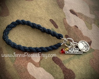 My Son is a AIRMAN boot band bracelet proud mom USAF military Air Force mother