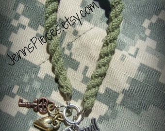 US National Guard Army Green boot band Blouser Bracelet with charms -SGT122