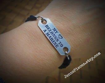 My Heart Belongs to a Marine Boot band bracelet USMC girlfriend wife semper fi