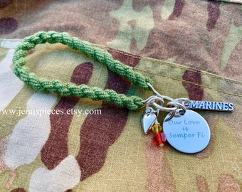 Our Love Is Semper Fi Boot Band Bracelet Marines USMC girlfriend wife